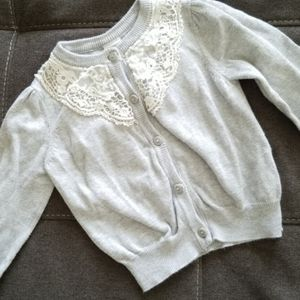 H&M Gray Cardigan with Lace Applique size 12-18m